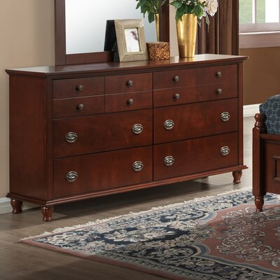 Macon 6 Drawer Dresser Color: Brown/Cherry