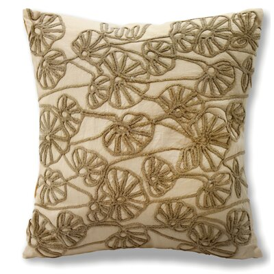 Jinie Embroidered Cotton Throw Pillow Color: Cream