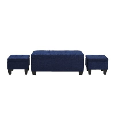 Hirsh 3 Piece Storage Ottoman Set Upholstery: Blue