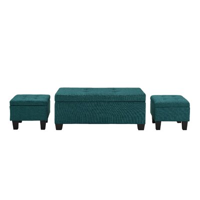 Hirsh 3 Piece Storage Ottoman Set Upholstery: Teal