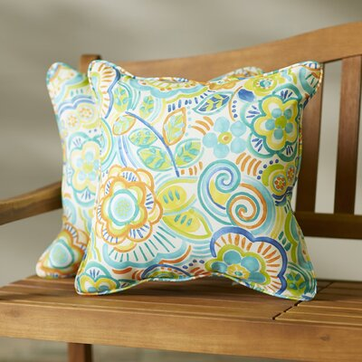 Broad Brook Indoor/Outdoor Throw Pillow Size: 18 H x 18 W, Color: Blue Caribbean
