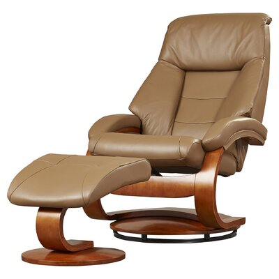 Flathead Lake Leather Manual Swivel Recliner With Ottoman