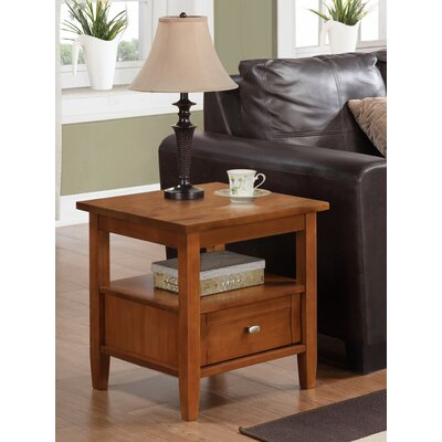 Bruno 1 Drawer End Table Finish: Honey Brown