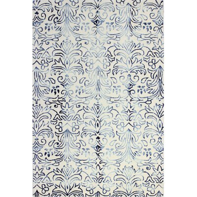 Alland Hand-Tufted Ivory/Blue Area Rug Rug Size: 5 x 76