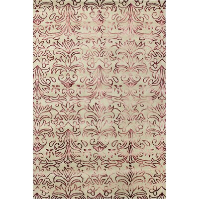 Allen Hand-Tufted Beige/Red Area Rug Rug Size: 76 x 96