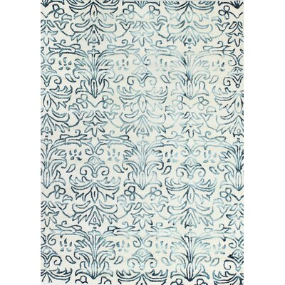 Allen Hand-Tufted Ivory/Teal Area Rug Rug Size: 76 x 96