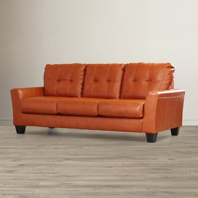 Moscato Leather Sofa Upholstery: Orange