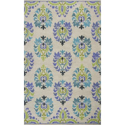 Grand Teton Hand-Hooked Sand/Blue Area Rug Rug Size: 33 x 53