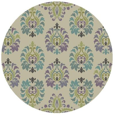 Grand Teton Hand-Hooked Sand/Blue Area Rug Rug Size: Round 5