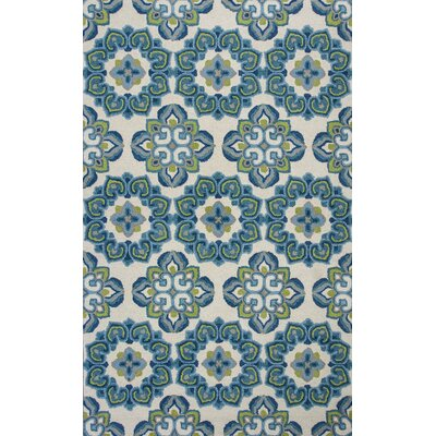 Grand Teton Hand-Hooked Ivory/Blue Area Rug Rug Size: Rectangle 23 x 39
