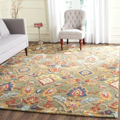 Elford Hand-Tufted Wool Green Area Rug Rug Size: Rectangle 3 x 5