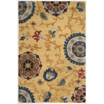 Mudoch Hand-Tufted Wool Gold Area Rug Rug Size: Rectangle 4 x 6