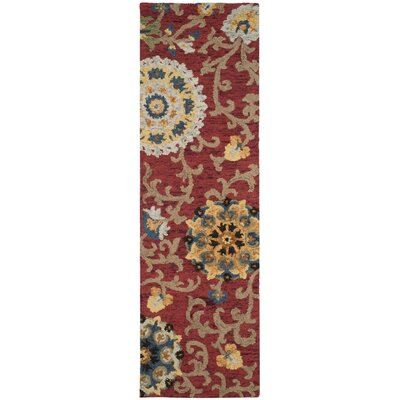 Mudoch Hand-Tufted Wool Red Area Rug Rug Size: Runner 23 x 8