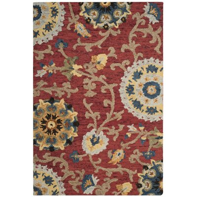 Mudoch Hand-Tufted Wool Red Area Rug Rug Size: Rectangle 4 x 6
