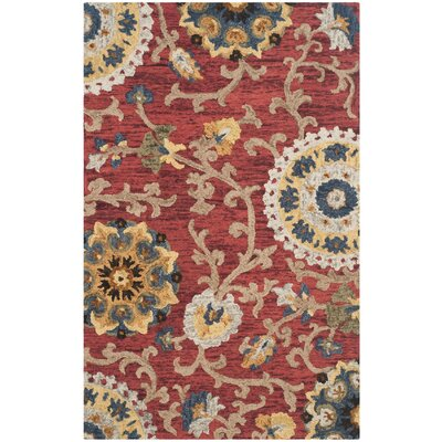 Mudoch Hand-Tufted Wool Red Area Rug Rug Size: Rectangle 5 x 8