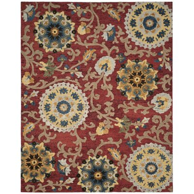 Mudoch Hand-Tufted Wool Red Area Rug Rug Size: Rectangle 8 x 10