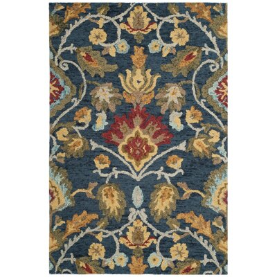 Abrahamic Hand-Tufted Navy Area Rug Rug Size: Rectangle 4 x 6