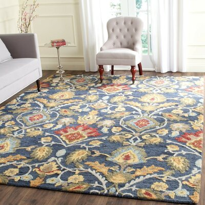 Elford Hand-Tufted Wool Blue/Red/Green Area Rug Rug Size: Rectangle 89 x 12