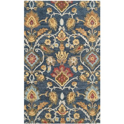 Abrahamic Hand-Tufted Navy Area Rug Rug Size: 5 x 8