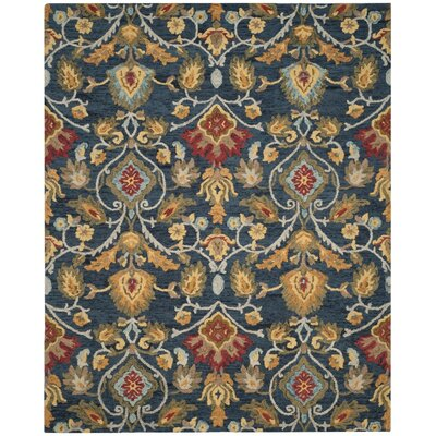 Abrahamic Hand-Tufted Navy Area Rug Rug Size: 8 x 10