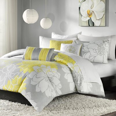 Broadwell 6 Piece Print Reversible Duvet Cover Set Size: Full / Queen, Color: Yellow