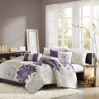 Broadwell 6 Piece Print Reversible Duvet Cover Set Size: Full / Queen, Color: Purple