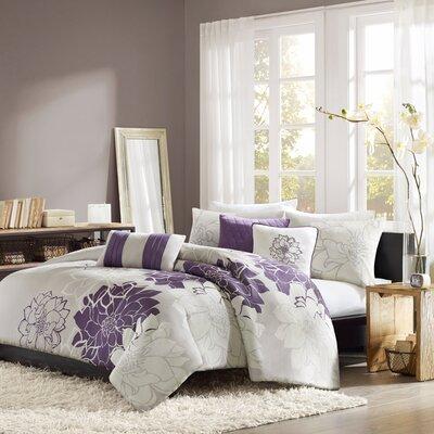 Broadwell 6 Piece Print Reversible Duvet Cover Set Size: King, Color: Purple
