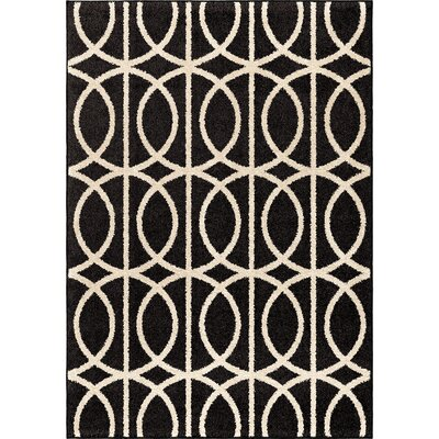 Falmer Black/Cream Area Rug Rug Size: 710 x 1010