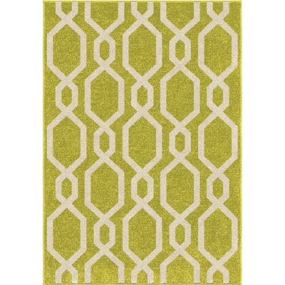 Amplas Green/vory Area Rug Rug Size: 52 x 76