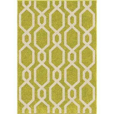 Amplas Green/vory Area Rug Rug Size: 52 x 76