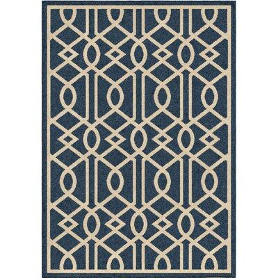 Anaya Blue/Ivory Indoor/Outdoor Area Rug Rug Size: 52 x 76