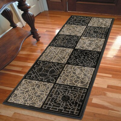 Anderle Gray/Black Area Rug Rug Size: Runner 23 x 8