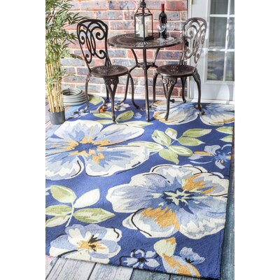 Boyd Hand-Hooked Blue Indoor/Outdoor Area Rug Rug Size: Rectangle 9 x 12