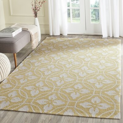 Battlefield Hand-Hooked Gold/Ivory Indoor/Outdoor Area Rug Rug Size: Rectangle 36 x 56