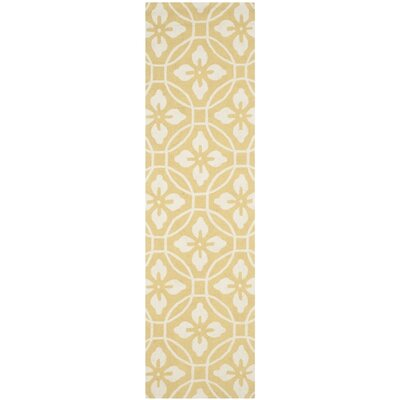 Battlefield Hand-Hooked Gold/Ivory Indoor/Outdoor Area Rug Rug Size: Runner 23 x 8