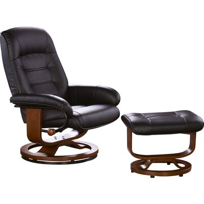 New Republic Leather Ergonomic Recliner and Ottoman
