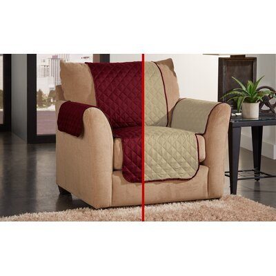 Box Cushion Armchair Slipcover Color: Cranberry/Natural