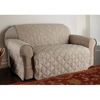 Duvig Box Cushion Loveseat Slipcover Color: Natural