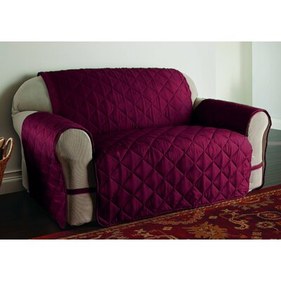 Duvig Box Cushion Loveseat Slipcover Color: Burgundy