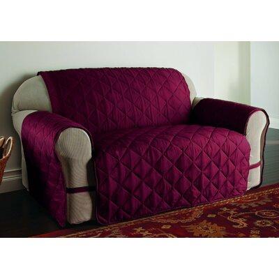 DuVig Microfiber Loveseat Slipcover Color: Burgundy