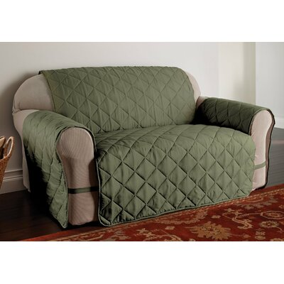 Duvig Box Cushion Loveseat Slipcover Color: Sage