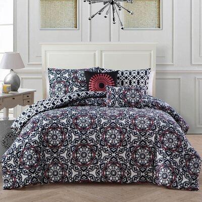 5 Piece Galatia Comforter Set Color: Fuscia, Size: King