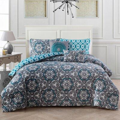 5 Piece Galatia Comforter Set Color: Blue, Size: King