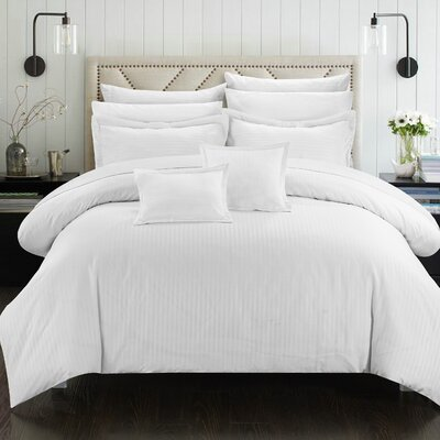 Seelye 11 Piece Comforter Set Color: White, Size: Full/Queen