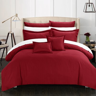 Seelye 11 Piece Comforter Set Size: King, Color: Burgundy