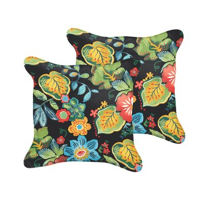 Sarang Indoor/Outdoor Throw Pillow Size: 18 H x 18 W, Color: Mira Black
