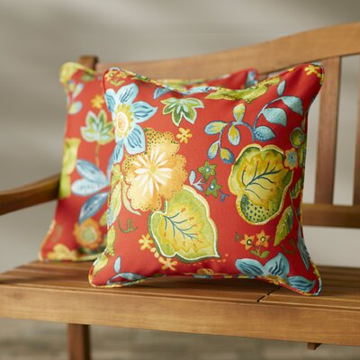 Broad Brook Indoor/Outdoor Throw Pillow Size: 22 H x 22 W, Color: Blaze Red
