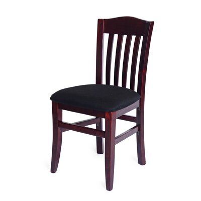 Baldemar Side Chair Finish: Walnut, Upholstery: Brown Faux Leather