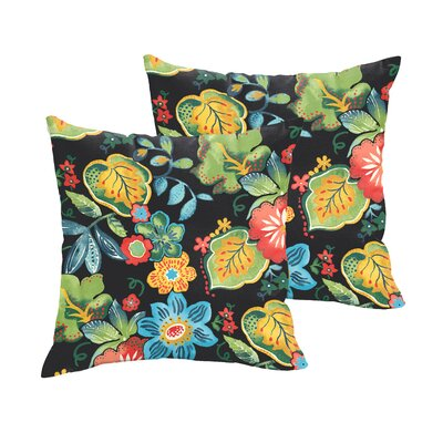 Broad Brook Outdoor Throw Pillow Size: 18 H x 18 W, Color: Black / Green / Blue