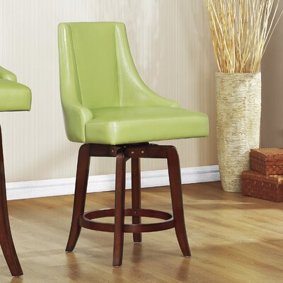 Cajun 24 Swivel Bar Stool (Set of 2) Upholstery: Green